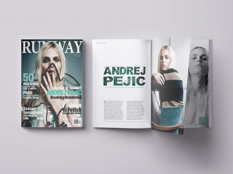 Magazine, layout, publishing, Double page spread, feature, Runway