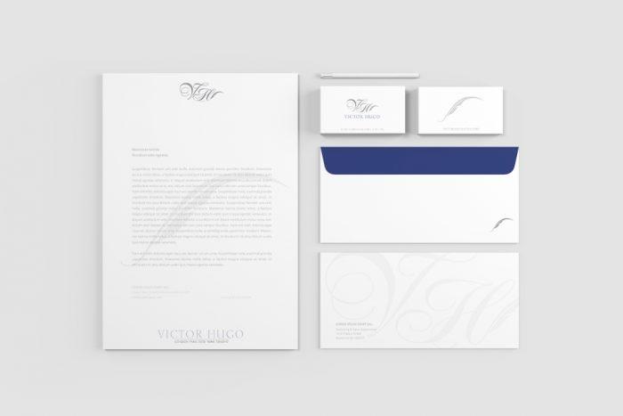 RH Photography & Design, branding, logo, Victor Hugo Hotel, stationary, letterhead, envelop, business cards
