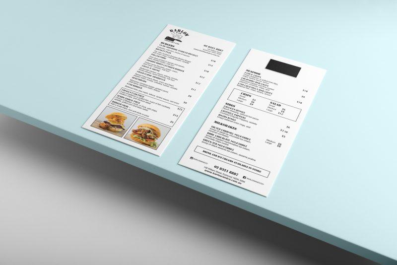 fridge Menu magnet, Barlow & Co, take-away, food