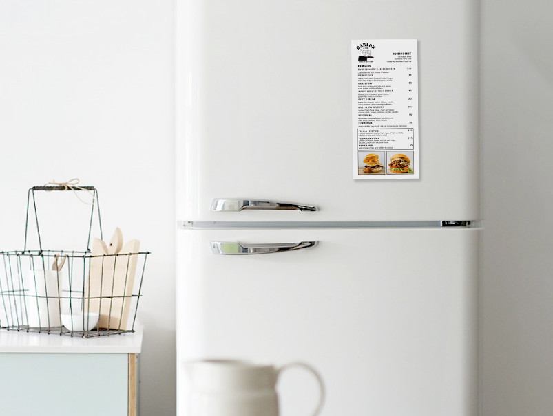 fridge Menu magnet, Barlow & Co, take-away, food