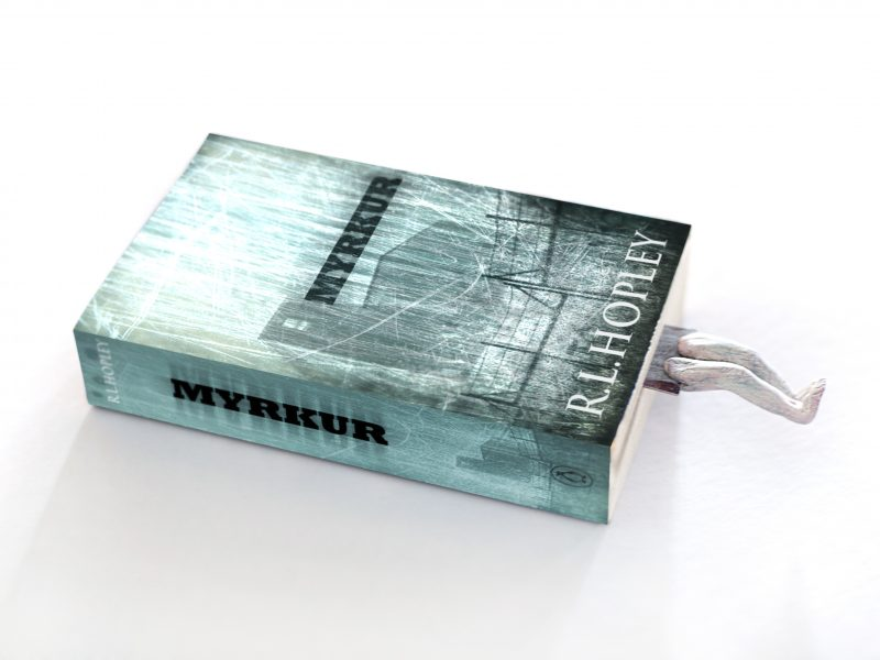 myrkur - horror mystery novel, cover design - promotional bookmark